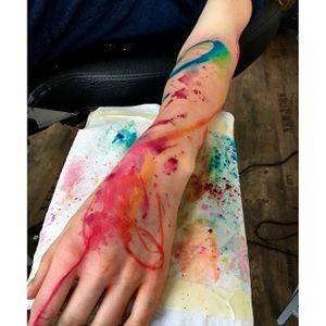 Abstract tattoo by Emrahde Lausbub. #abstract #art #contemporarytattoo #paint #paintdrip #EmrahdeLausbub