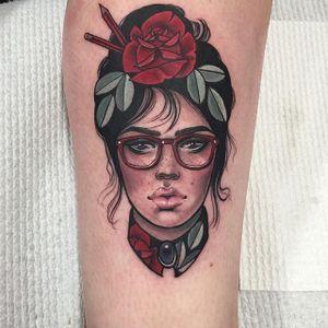 Bookish via instagram hannahflowers_tattoos #glasses #pencils #woman #portrait #neotraditional #color #ladyhead #hannahflowers