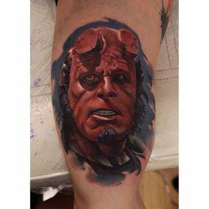 Hellboy portrait tattoo by Sergey Shanko. #Hellboy #darkhorse #comics #graphicnovel #character #colorrealism