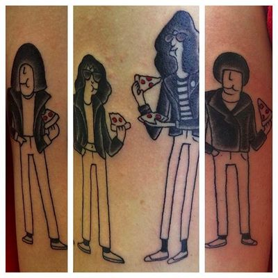 Ah, The Ramones and pizza. Two great NYC staples together in a tattoo thats super cute. By Valentina DeRosa (via IG — valentinaderosatattoo) #valentinaderosa #ramones #pizza