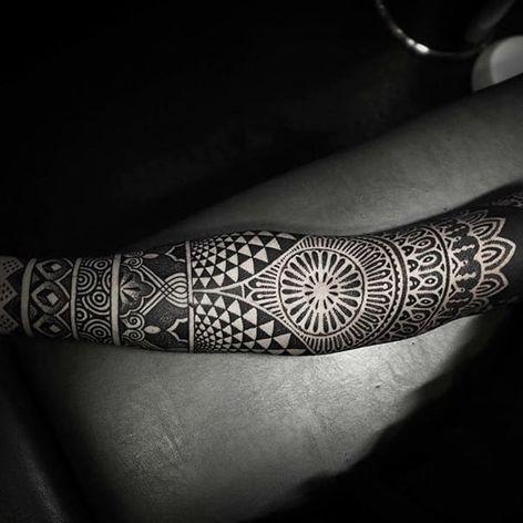 Geometric sleeve. (via IG - alexiscalvie) #dotwork #geometric #sleeve #largescale #alexiscalvie