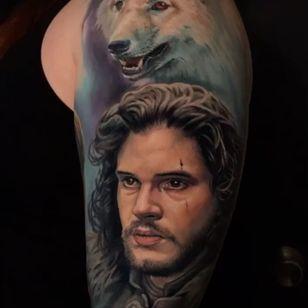 Game of Thrones tattoo by Evan Olin #EvanOlin #colortattoo #realismtattoo #realistictattoo #hyperrealismtattoo #portraittattoo #gameofthronestattoo #tvtattoo #jonsnowtattoo #wolftattoo #tattoooftheday