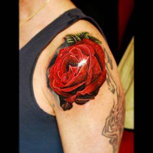 Ravishing red rose tattoo by Justin Buduo. #realism #colorrealism #JustinBuduo #flower #rose #redrose
