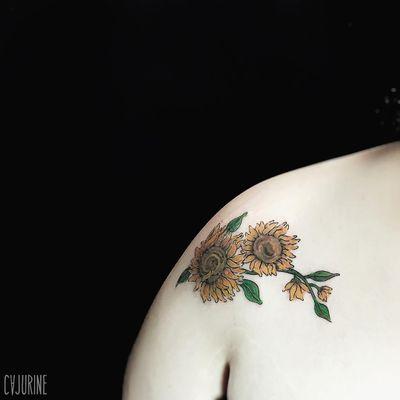 #Cajurine #brasil #brazil #brazilianartist #tatuadoresdobrasil #VincentVanGogh #VanGogh #arte #art #flor #flower #girassol #sunflower #folha #leaf #colorido #colorful