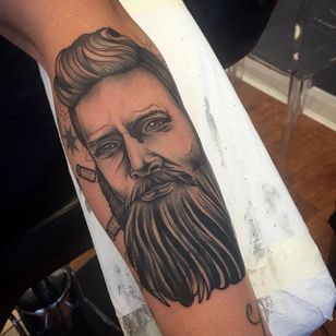 Ned Kelly Tattoo by Chris Copping #NedKelly #NedKellyTattoo #OutlawTattoo #FolkloreTattoos #AustralianTattoos #ChrisCopping