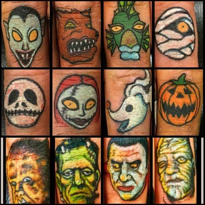 Monster finger tattoos by Allan Graves #AllanGraves #haunted #horror #halloween #horrorportait