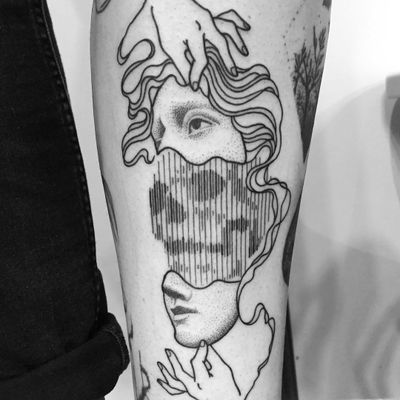Death tattoo by Francesco Rossetti #FrancescoRossetti #besttattoos #linework #dotwork #blackwork #portrait #skull #death #face #hands #minimal #abstract #tattoooftheday