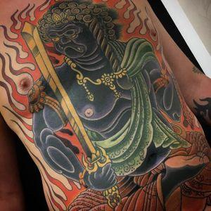 Fudo Myoo by Steve H Morante #SteveMorante #color #Fudo #FudoMyoo #Fudoshin #flame #tattoooftheday