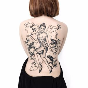 Chasing the dragon by Adam Vu Noir #adamvunoir #blackwork #dragon #lady #smoke #tattoooftheday