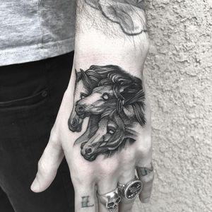 Pharaohs Horses tattoo by Marlon M Toney #MarlonMToney #horsetattoos #blackandgrey #illustrative #horses #horse #animal #linework #pharaohshorses