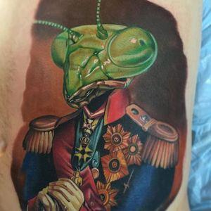 Praying Mantis tattoo by Paul Marino #prayingmantis #colorportrait #colorrealism #portraitrealism #realismartist #PaulMarino