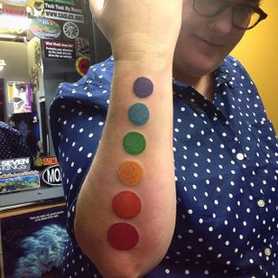 Dotted forearm (via IG—mansruintattoo) #PrideTattoo #PrideFlag #LGBT #Equality #Rainbow #RainbowTattoo