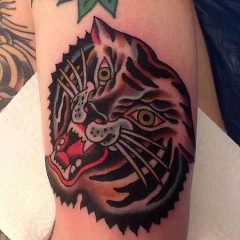 A roaring tiger head by Johann Ingemar (IG—sign_of_the_wolf). #bangers #bold #dark #JohannIngemar #tiger #traditional