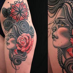 Lovely lady tattoo by Vale Lovette #valelovette #rosetattoos #color #blackandgrey #ladyhead #portrait #lady #rose #flower #pearls #mandala #hair #swirls #abstract #tattoooftheday