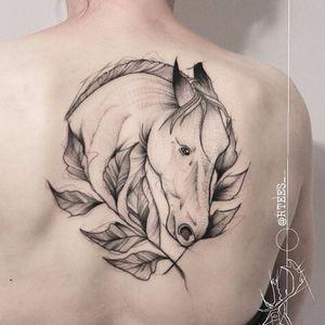 Wild horses couldn't drag me away by Raul Teruel Esteo #RaulTeruelEsteo #blackwork #linework #illustrative #horse #nature #leaves #animal #tattoooftheday