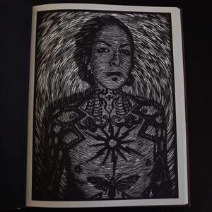 A portrait of Yvonne Ziegler from Alex Binnie's The Woodcut Portraits. #AlexBinnie #artbook #fineart #KintaroPublishing #portraiture #prints #woodcuts #YvonneZiegler