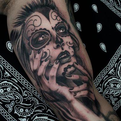Catrina por Nicolas Marrez #TatuadoresBrasileiros #Tatuadoresdobrasil #tattoobr #tattoodobr #Curitiba #blackandgrey #pretoecinza #catrina