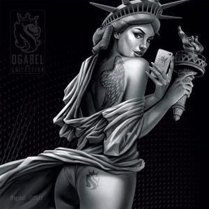 Naughty Statue of Liberty by OG Abel #OGAbel #art #chicano #blackandgrey #pinup #statueofliberty