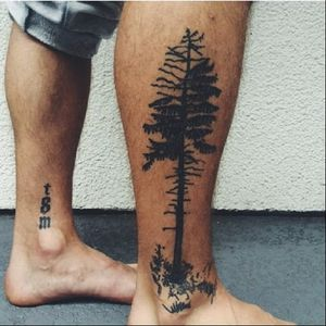 Blackwork pine tree tattoo design by st.marys.ink #pinetree #tree #blackwork #blackworkpinetree #btattooing #blckwrk #stmarysink