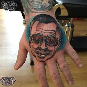 Stan Lee Tattoo by Gabbie Vasquez #stanlee #stanleetattoo #stanleetattoos #marvel #marveltattoo #marveltattoos #comictattoo #marvelcomics #GabbieVasquez