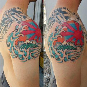 Mount Fuji Tattoo by James Morgan #MountFuji #JapanTattoo #FujiTattoo #Japan #Sun #Mountain #Wave #JamesMorgan