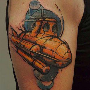 Geometric sub by Tomas Fullsack (via IG -- tomas_fullsack) #tomasfullsack #submarine #submarinetattoo