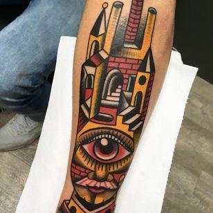 Building head tattoo by Sinsentido10 #Sinsentido10 #architecturetattoos #newtraditional #buildings #surreal #portrait #eye #eyeball #castle #man #mustache #cubist #abstract #tattoooftheday