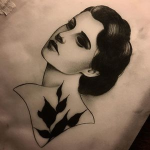 by Slumdog Tattooer. (via IG—slumdog.tattooer) #SlumdogTattooer #Noire #Eyeless #Dark #ladyheads