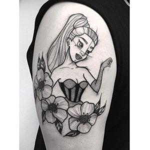 Lady Gaga as a Disney princess tattoo by Poppy Segger. #PoppySegger #disney #pointillism #dotwork #poppysmallhands #disneyprincess #ladygaga #celebrity #fan