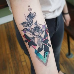 Rose tattoo by Cameron Pohl #CameronPohl #rosetattoos #blackandgrey #illustrative #rose #flower #floral #leaves #plant #dotwork #linework #abstract #color #shapes #silhouette