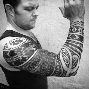 Tribal Tattoo by Neil Bass #tribalsleeve #tribal #tribaltattoo #tribaltattoos #polynesian #polynesiantattoos #maori #maoritattoos #samoan #samoantattoos #NeilBass