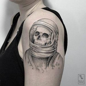 Skeleton Astronaut by Marla Moon (via IG-marla_moon) #skull #skeleton #astronaut #finelines #illustrative #blackandgrey #MarlaMoon