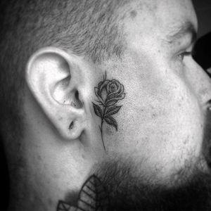 Badass rose face tattoo by Bobby Loveridge @bobbalicious_tattoo #black #blackandgray #churchyardtattoostudio #uk #rose #facetattoo