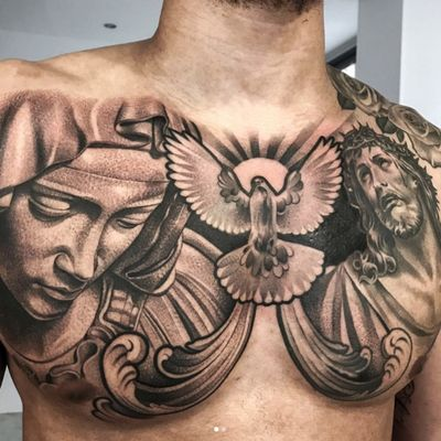 The Virgin Mary, a dove, and Jesus Christ by Lil B (IG—lilb_tattoos). #blackandgrey #Christ #Christian #dove #LilB #realism #religious #TheVirginMary