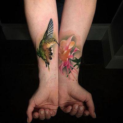 Hummingbird and flower by Sebastian Nowacki #SebastianNowacki #color #hummingbird #flower #realism #tattoooftheday