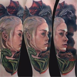 Daenerys Targaryen tattoo by Jamie Lee Parker. #daenerys #targaryen #daenerystargaryen #gameofthrones #GOT #khaleesi #dragon #colorrealism #portrait