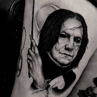 Severus Snape Harry Potter portrait by Ryan Murray #RyanMurray #SeverusSnape #HarryPotter #portrait #spider #moon #blackwork #tattoooftheday