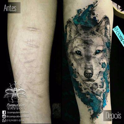 Cobertura de cicatrizes! #MayaraCompulsiva #tatuadorasdobrasil #lobo #wolf #cobertura #coverup