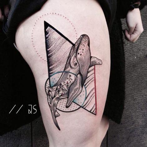 Whale tattoo by Jessica Svartvit #geometric #whale #JessicaSvartvit