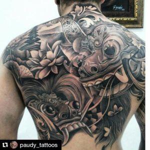 Black and grey temple, lotus and barong mask back piece by Pa'udy Bali. #blackandgrey #balinese #indonesian #Pa'udyBali #barong #barongmask #flower #lotus