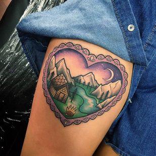 Cabin love tattoo by Sami Locke. #traditional #neotraditional #heart #decorative #cabin #SamiLocke