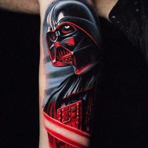 Darth Vader tattoo by Ben Ochoa. #BenOchoa #colorrealism #popculture #darthvader #starwars #villain