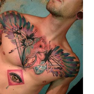 Jaw-dropping chest tattoo by Mich Beck #MichBeck #graphic #artistic #anatomicalheart #eye