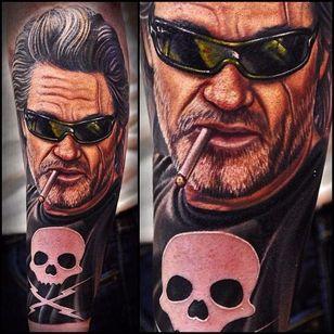 Kurt Russell Tattoo by Nikko Hurtado #deathproof #kurtrussell #kurtrussellportrait #kurtrussellmovie #movie #film #actor #NikkoHurtado