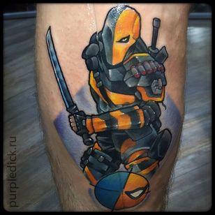 Deathstroke Tattoo by Dmitriy Yakovlev #Deathstroke #DeathstrokeTattoos #DeathstrokeTattoo #DCComics #DCTattoos #ComicTattoos #DCTattoos #VillainTattoos #DmitriyYakovlev