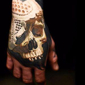 Skull tattoo by Nikko Hurtado #realism #realistic #skull #skulltattoo #handtattoo #NikkoHurtado