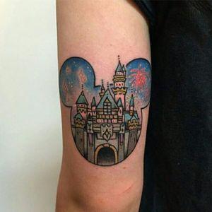 Disneyland tattoo by Nat G. #disney #disneyland #castle #waltdisney #NatG