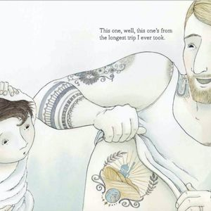 The father from Tell Me a Tattoo Story showing his son his side tattoo. #AlisonMcGhee #childrensbooks #ElizaWheeler #TellMeaTattooStory