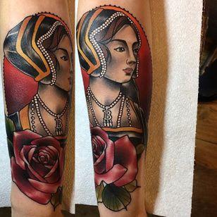 Anne Boleyn Tattoo by Daryl Watson #anneboleyn #neotraditional #neotraditionalartist #contemporary #stylish #bold #DarylWatson