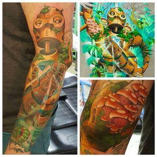 Nature robot tattoo by Mitchel Von Trapp @Mitchelmonster #Mitchelvontrapp #Newschool #Fantasy #Pokemon #AtomicZombietattoo #Nature #Robot